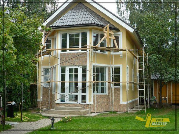 Отделка фасада дома 120 м2
